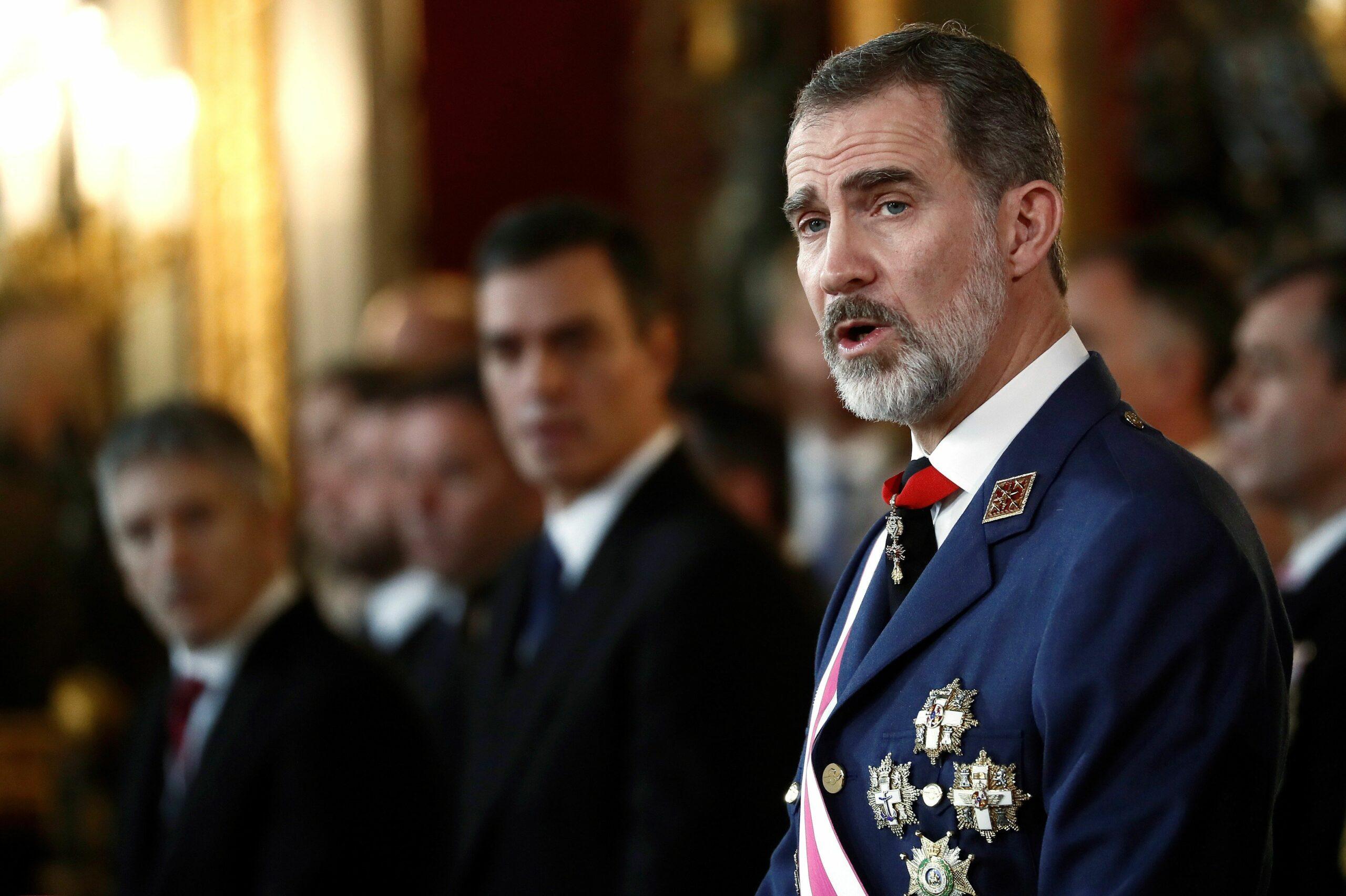 El rei Felip VI, durant la seva intervenció a la Pasqua Militar del 2020