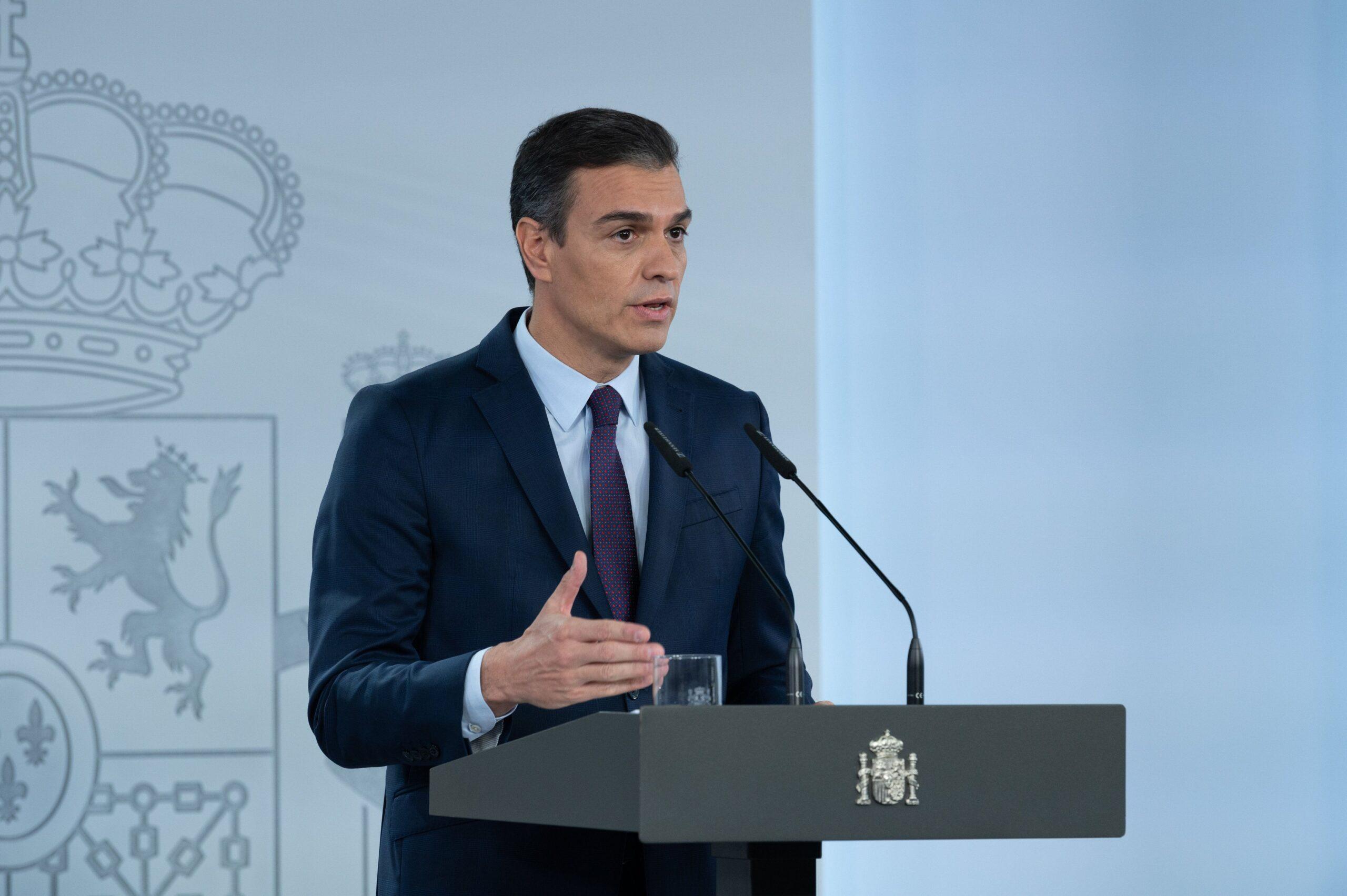 Pedro Sánchez en una roda de premsa desde Moncloa.