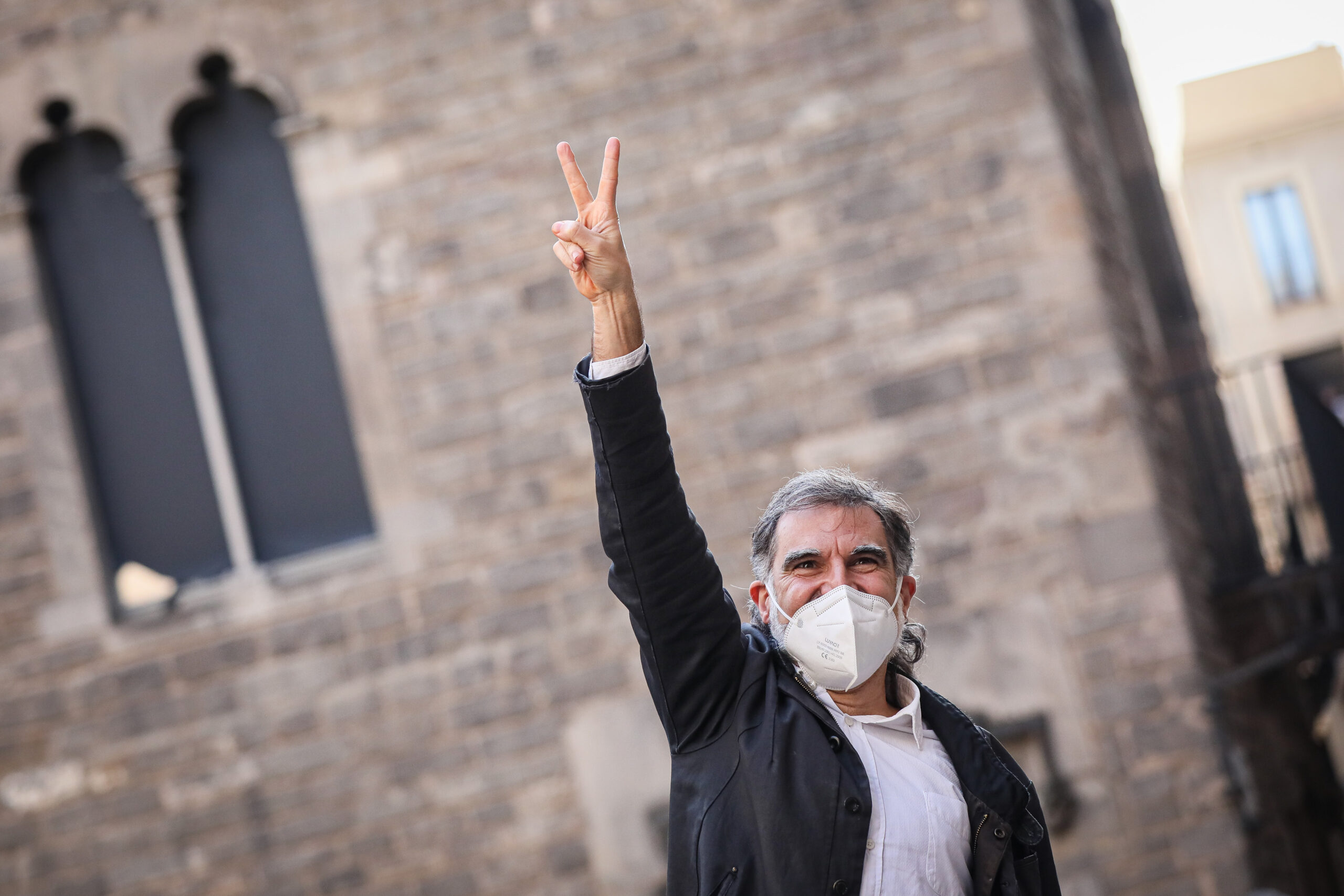 Jordi Cuixart, en arribar a la plaça del Rei/Jordi Borràs