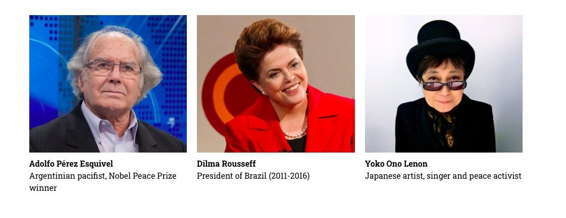 Pérez Esquivel, Dilma Rouseff i Yoko Ono, en la fotografia del manifets /Òmnium