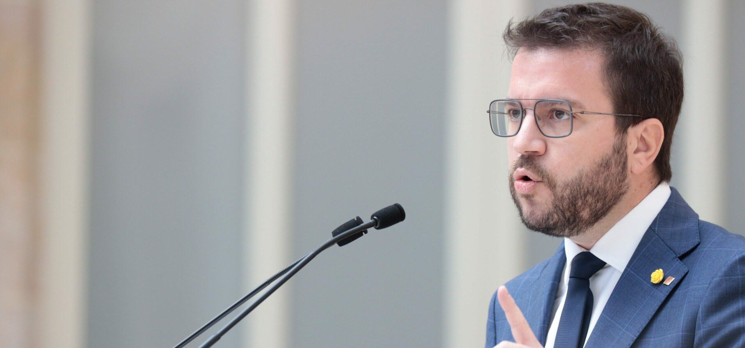 El candidat d'ERC a president de la Generalitat, Pere Aragonès, en el debat d'investidura d'aquest dimarts / ACN