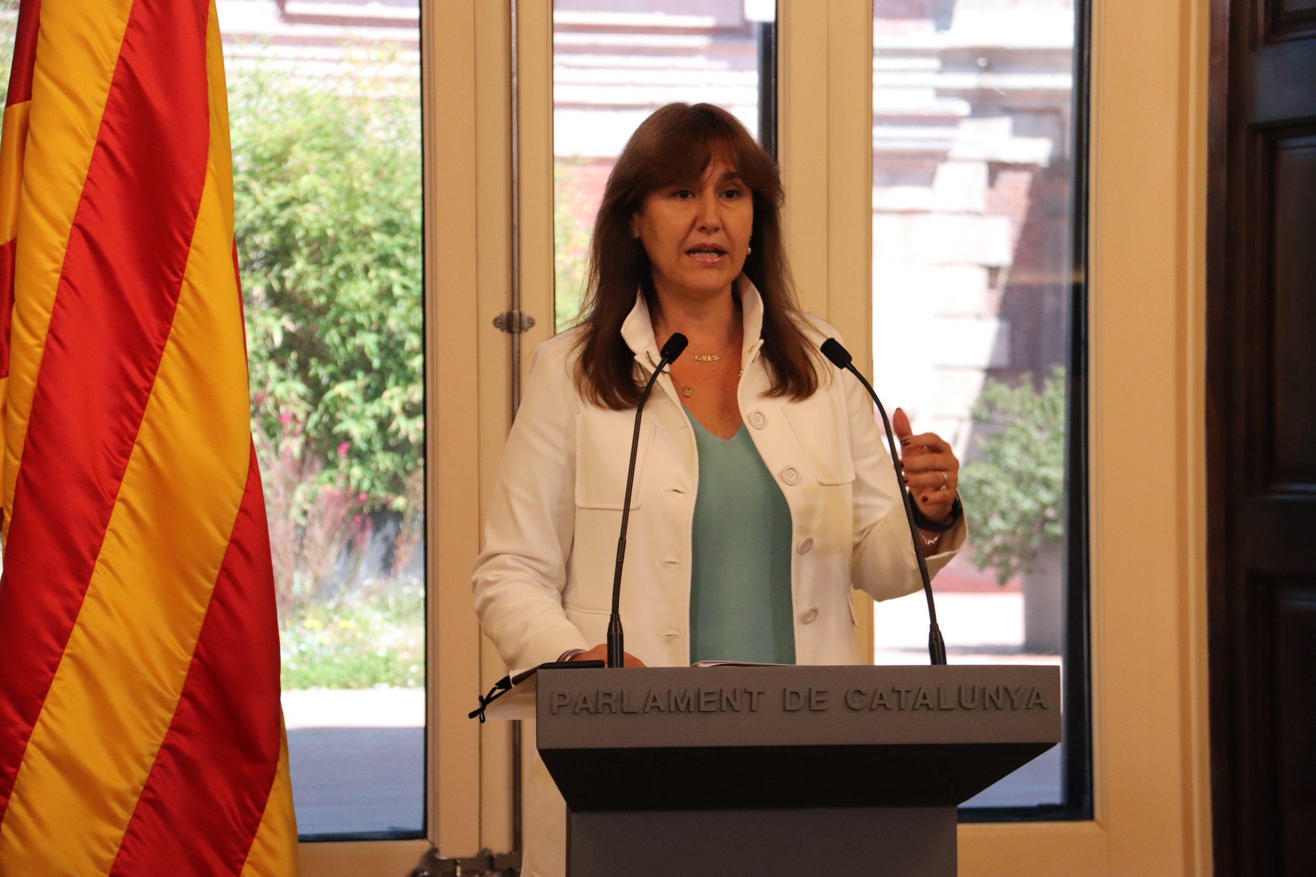 Laura Borràs durant el balanç dels cent primers dies com a presidenta del Parlament | ACN