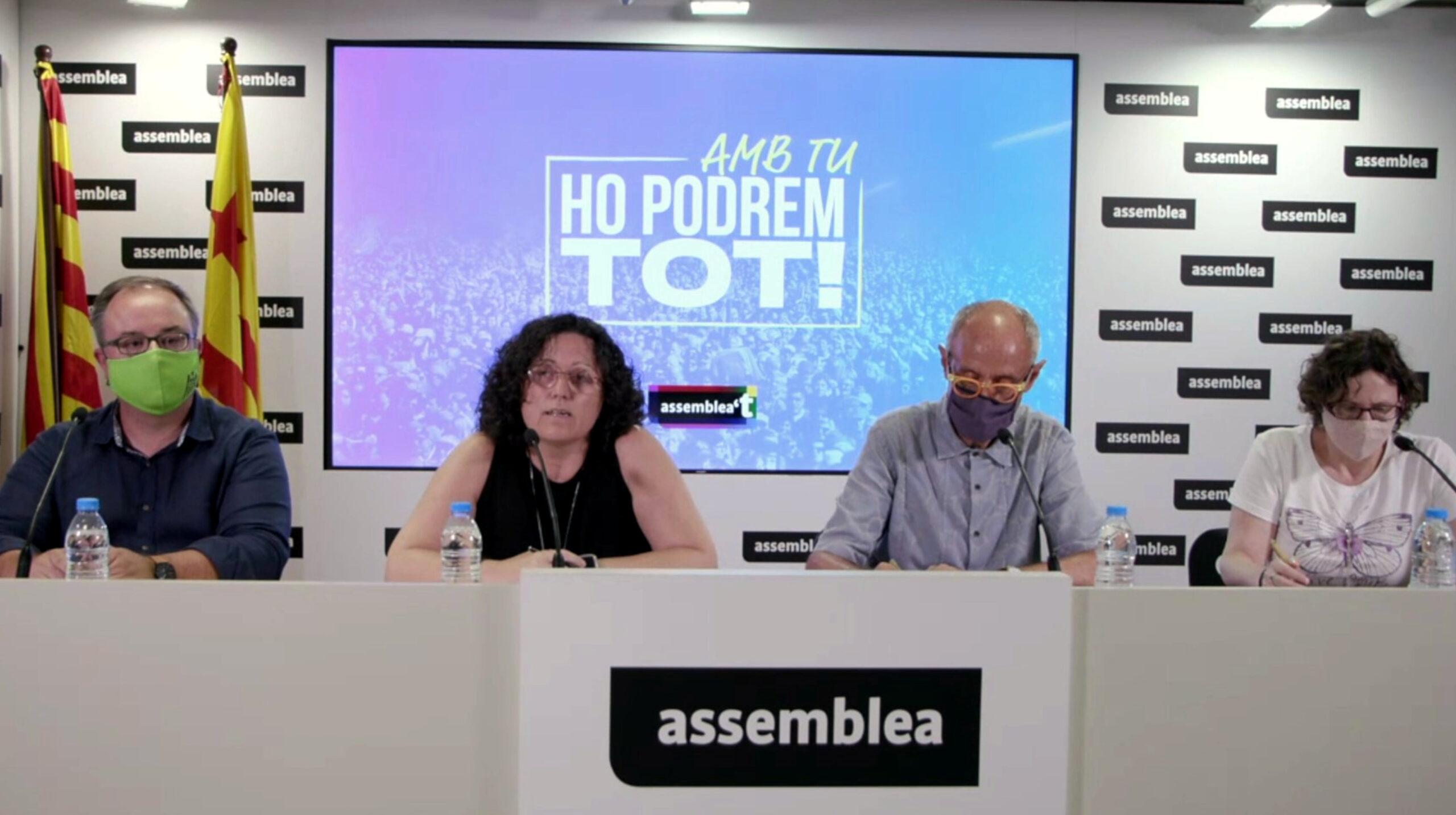 Els advocats de l'ANC Joaquim Fibla, Jordina Sonet, Pep Cruanyes i Patrícia Sierra, el 20-7-21 (ACN)