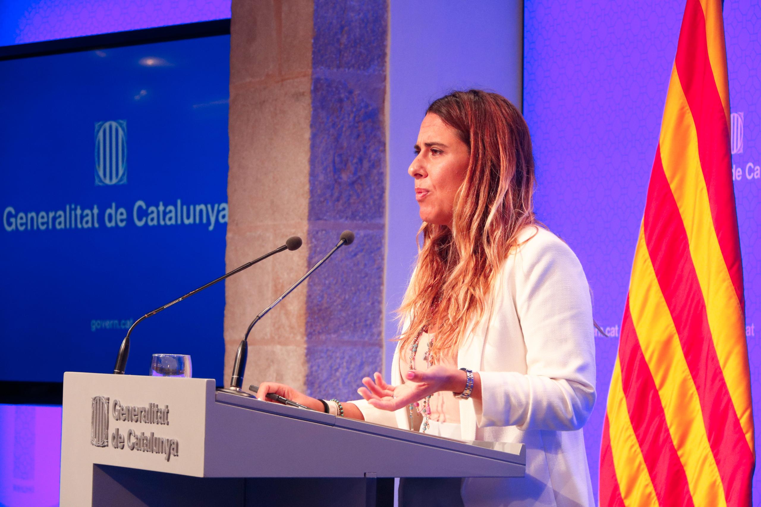 La portaveu del Govern, Patrícia Plaja, en roda de premsa després de l'últim Consell Executiu del curs polític, el 3 d'agost del 2021 / ACN