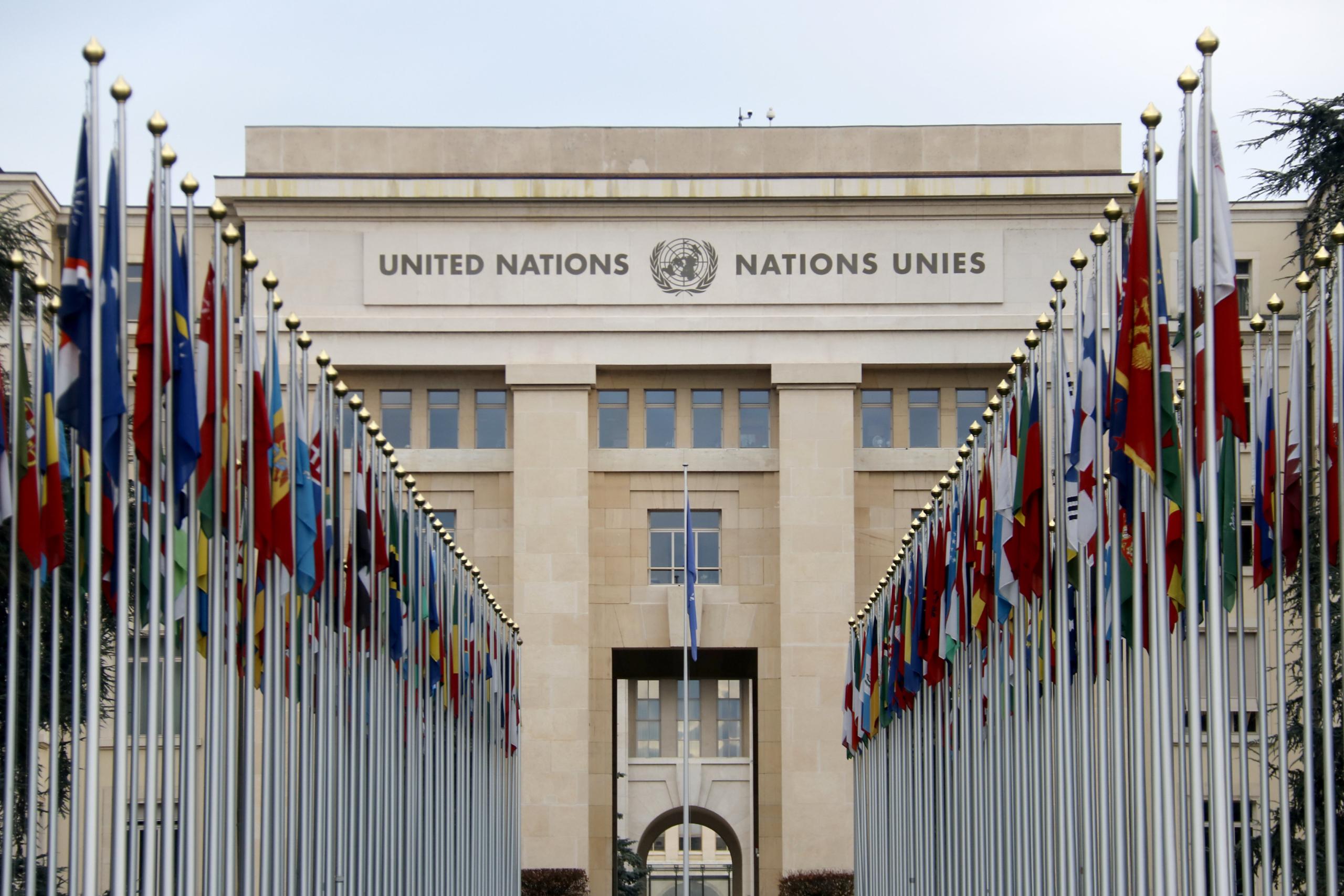 La façana de la seu europea de l'ONU, a Ginebra (ACN)