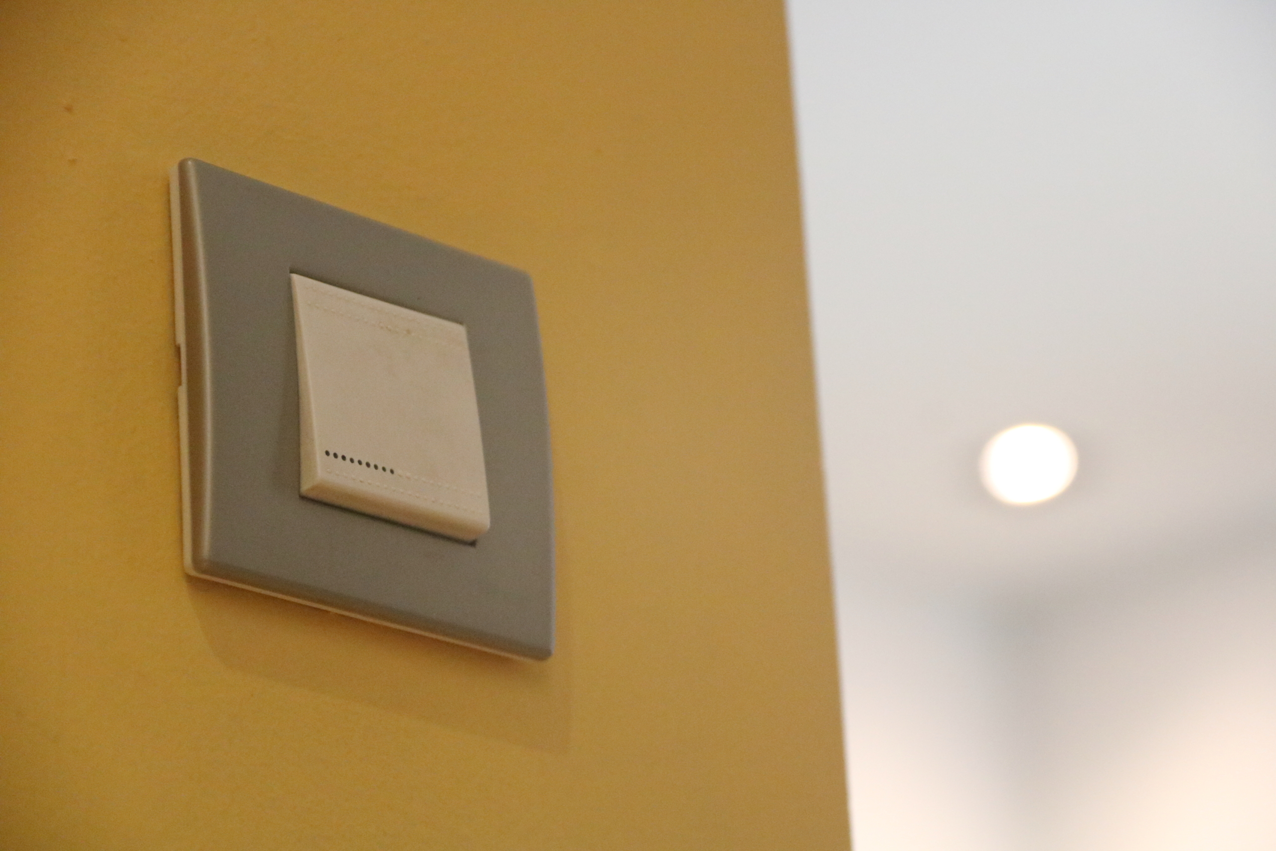 Un interruptor de llum, amb un llum encès de fons   ACN