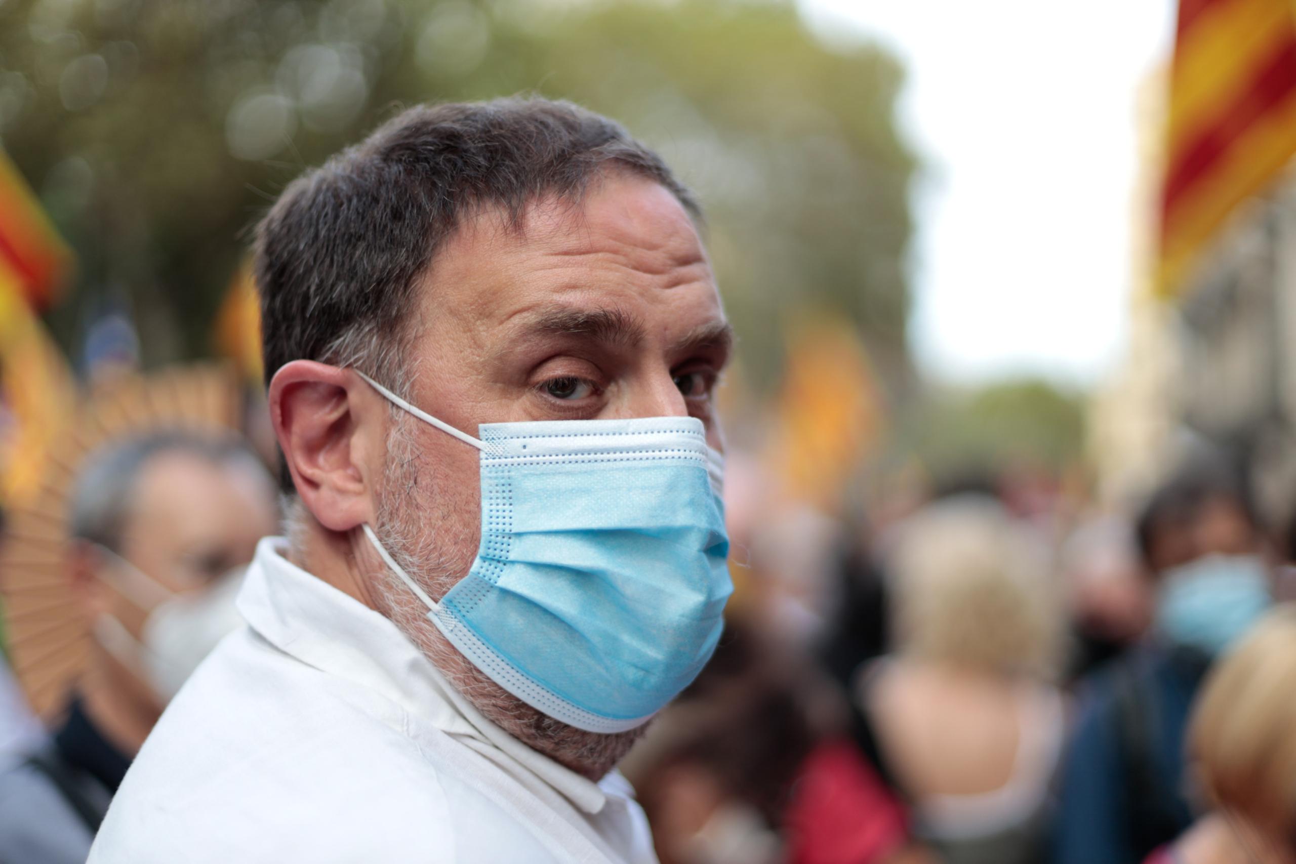 El president d'ERC, Oriol Junqueras, a la manifestació de l'ANC per la Diada de l'11 de setembre del 2021   ACN