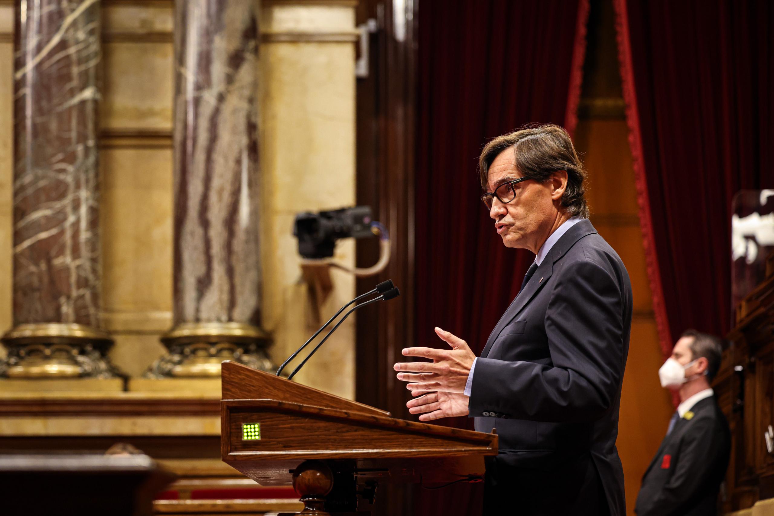 Salvador Illa durant la seva rèplica al discurs de Pere Aragonès al debat de política general / Jordi Borràs